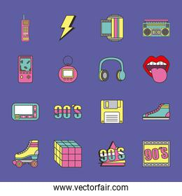 fashion 90s patches retro elements collection