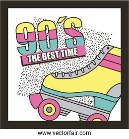 the best time 90s roller skate abstract background