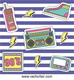 fashion 90s patches retro elements collection stripes background