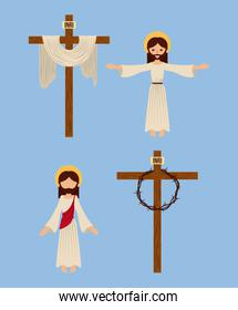 pack of icons christianity religious symbol
