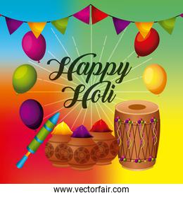 happy holi greeting card with balloons pennant powder color