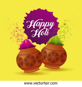 happy holi poster mud pot color filled yellow background