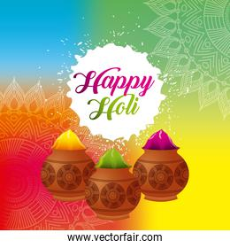 happy holi color powder decorated poster