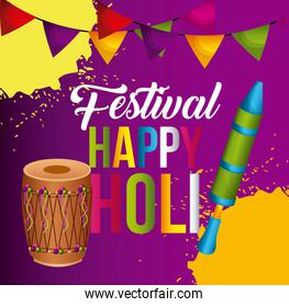 happy holi poster pennant colorful decoration