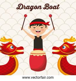dragon boat festival chinese man drum music traditional