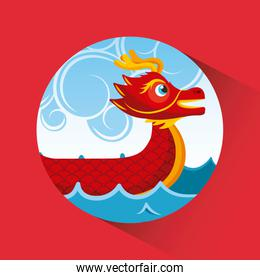 red chinese dragon boat sea and clouds button shadow