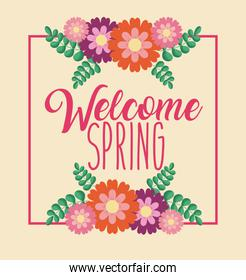 welcome spring greeting card celebration flowers natural