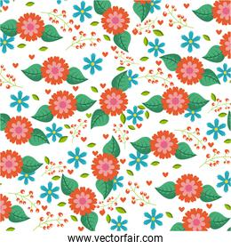 seamless pattern blue and orange flowers leaves hearts berries decoration