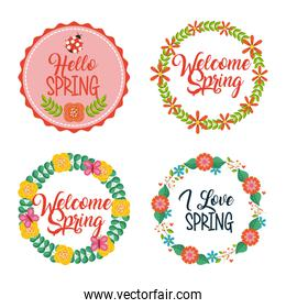 set of spring typographic wreath floral labels