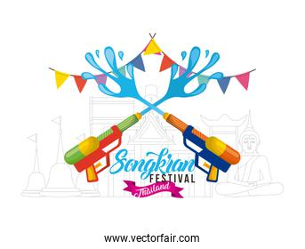 songkran water festival with guns garland poster