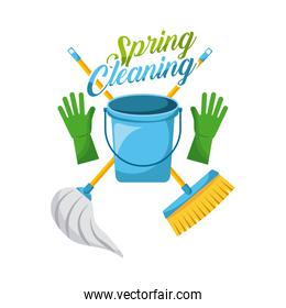 spring cleaning bucket gloves mop and broom