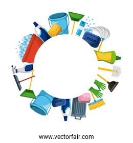 spring cleaning supplies round frame tools of housecleaning background