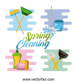 spring cleaning service tools for cleanliness and disinfection