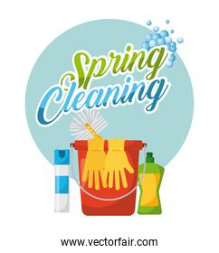spring cleaning poster bucket air freshner gloves plastic bottle brush