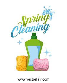 spring cleaning plastic bottle sponge bubbles