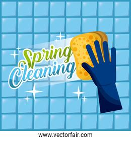 spring cleaning blue glove with sponge wash the wall tiles