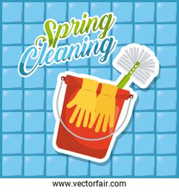 spring cleaning red bucket gloves brush blue tile background