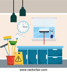 cleaning room cabinet drawers window clock bucket tools