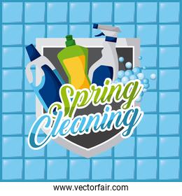 spring cleaning plastic bottles products disinfection tile background