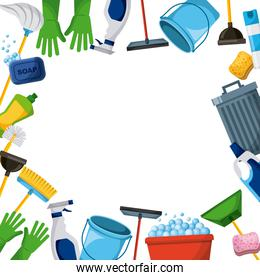 spring cleaning supplies border tools of housecleaning background