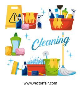 cleaning elements set with brooms bucket mop spray plunger brush sponge