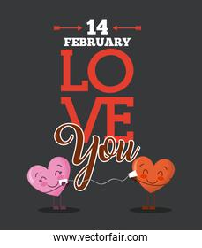 14 february love you cartoon hearts love card