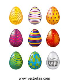 colorful glossy eggs easter celebration set