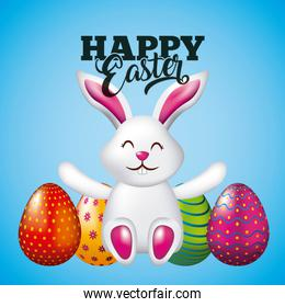 happy easter card cute bunny sitting and bright eggs blue background