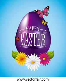 happy easter card purple egg flowers butterfly decoration