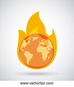 global earth burning fire climate change concept