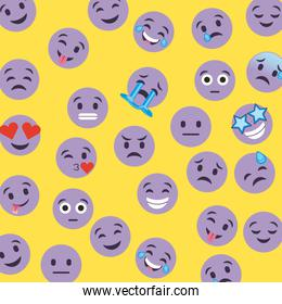 set of smiley icons with different face expression