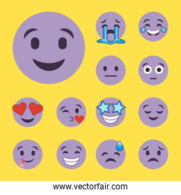 set of purple smiles emoji cartoon character faces