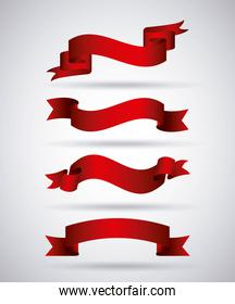 horizontal red banners ribbons decoration shadow