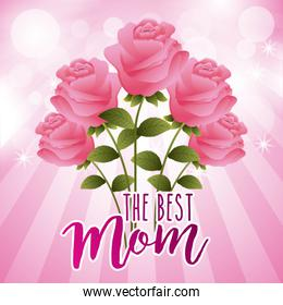 pink roses flowers bokeh light background the best mom card