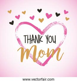 painted brush heart thank you mom hearts decoration