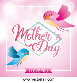 mothers day birds flying with spheres blurred background