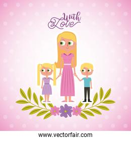 blonde mother holding her childs with love card floral decoration
