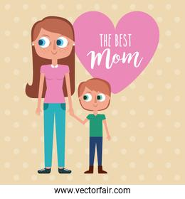 the best mom - woman holds hand kid with pink heart decoration