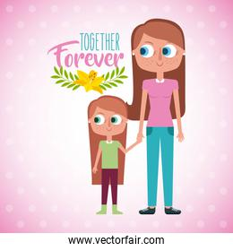 mother and daugther holds hand together forever card