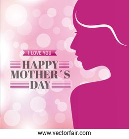pink portrait woman happy mothers day blurred background