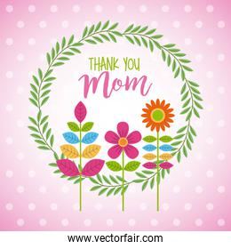 wreath floral flowers decoration thank you mom dots blur background
