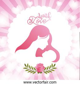 cute label woman and baby with love floral hearts blurred background