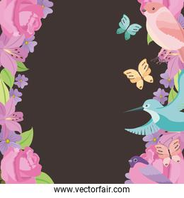 flower frame roses birds butterflies style background traditional