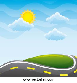 beautiful view of the paved road hill cloud sun landscape