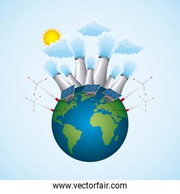 planet with nuclear plant turbin wind and panel solar - energy clean