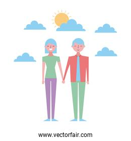cartoon man and woman standing and holding hands at evening time. On the background sunset and stars over the sea.