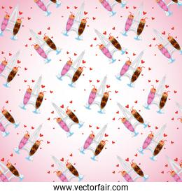 pattern chocolate ice cream strawberry shakes with red hearts