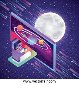man sit playing with virtual reality glasses screen system solar moon