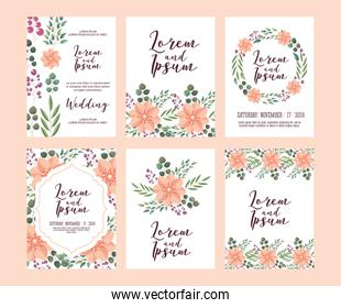 set of card with pink wild flowers leaves wedding ornament