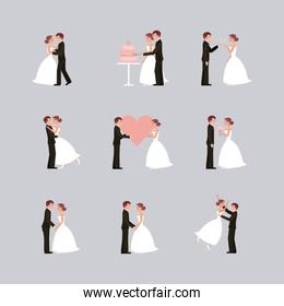 wedding card bride and groom holding hands in heart flowers
